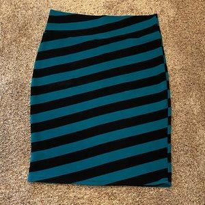 LuLaRoe Teal & Black Stripe Cassie Pencil Skirt XL
